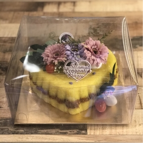 Single Pulut Cake - Heart Shape, Beef Rendang Filling, Transparent Box